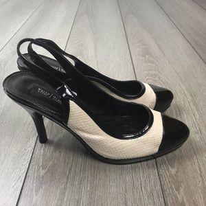 WHBM Olivia  Peep Toe Strapped High Heels